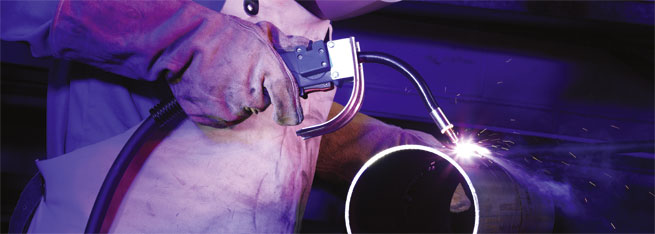 Flux-Cored Self Shielding Welding Torch ALPHA FLUX 350 in action